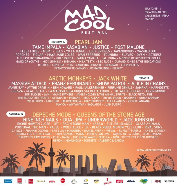 Mad Cool Fest 2018 cartel definitivo