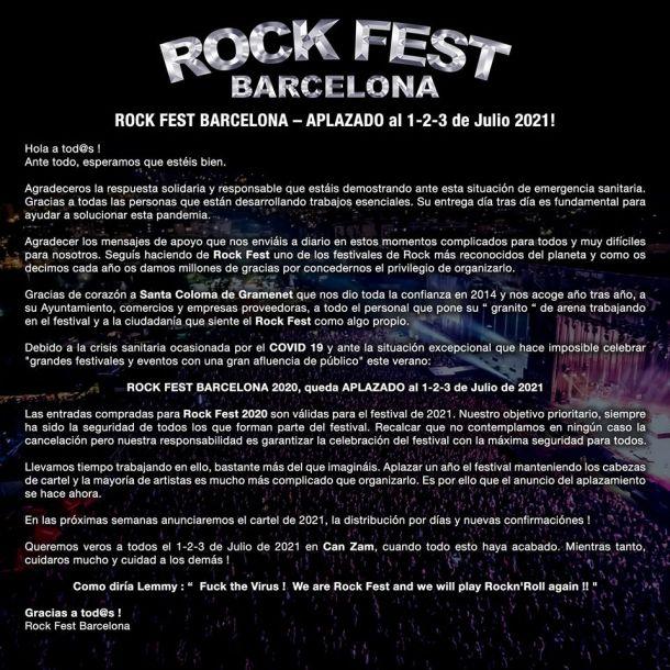 anuncio cancelación Rock Fest BCN
